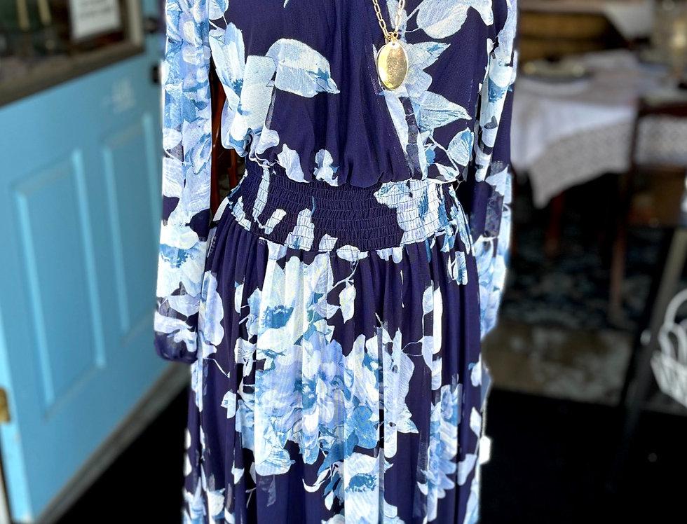 Blue Floral Dress (Size 14P)