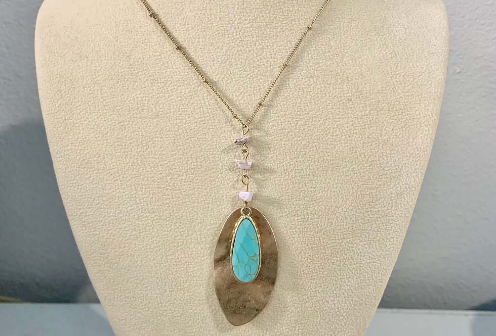 Gold & Turquoise Pendant Necklace with Lavender Stones