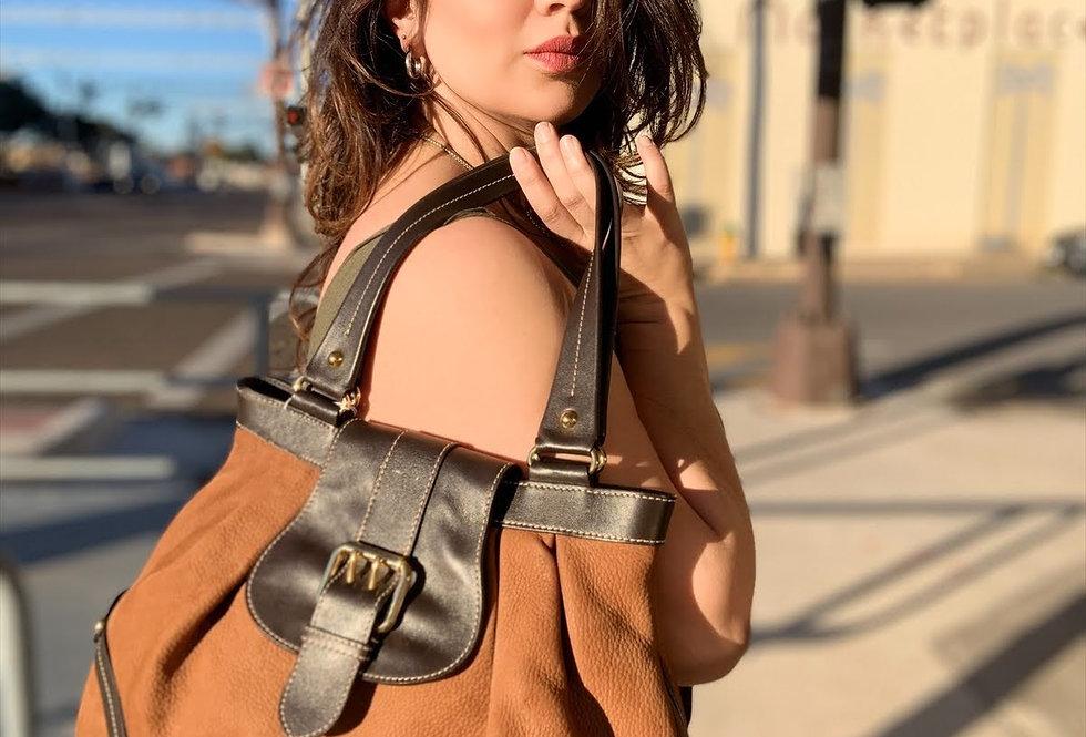 Dooney & Bourke Suede & Leather Large Bucket Handbag