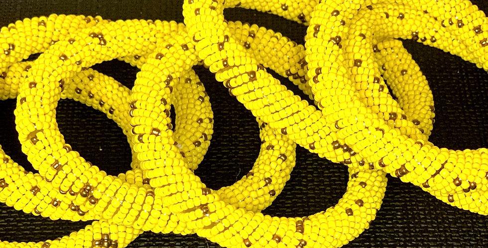 Handmade Maasai Bracelet- Yellow/Gold