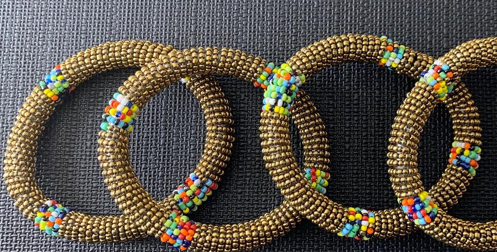 Handmade Maasai Bracelet- Gold