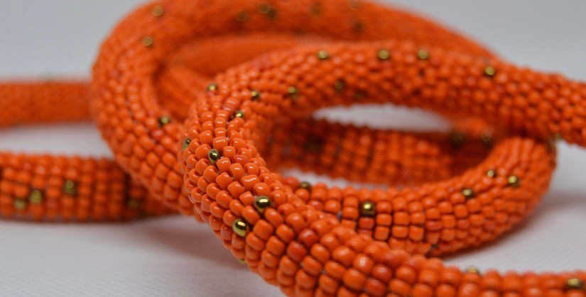 Handmade Maasai Bracelet-Orange/Gold
