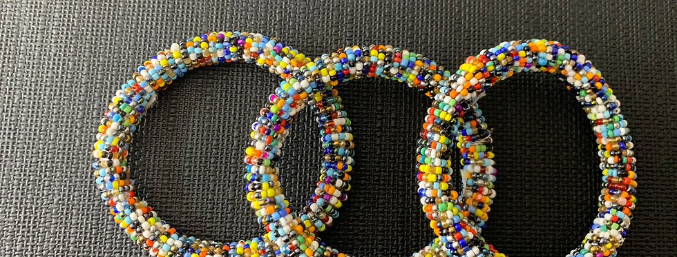 Handmade Maasai Bracelet-Dark skittles