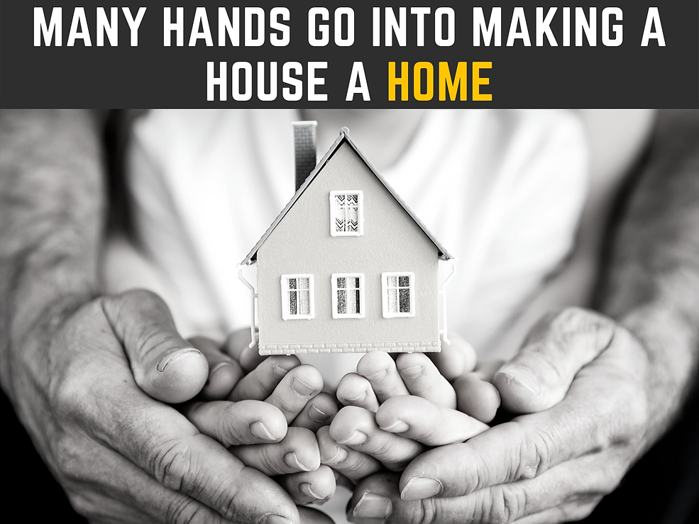 Multipul people holding hands working to make a house a home