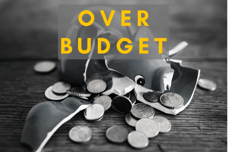 Broken budget and piggy bank