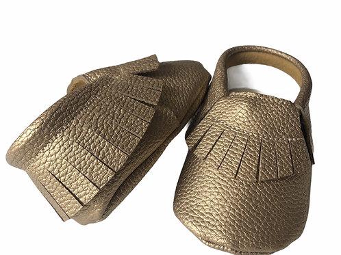 حذاء بدون كعب ذهبي