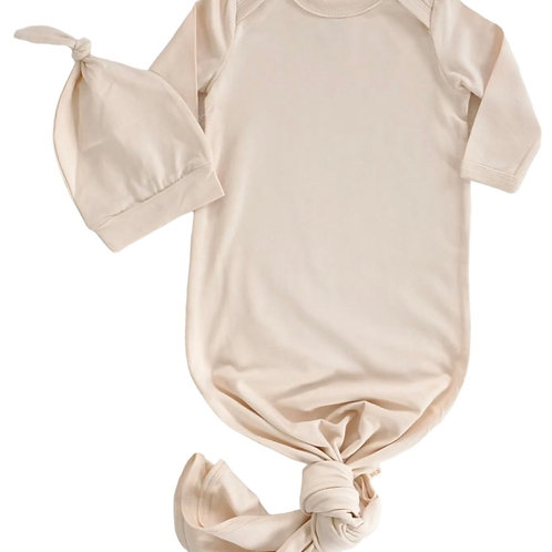 Beige Baby Knotted Gown+Hat Set