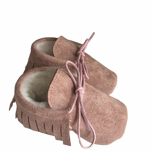 Faux Suede Lined Moccasins Pink
