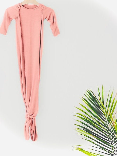 Pink Baby Knotted Gown+Hat Set