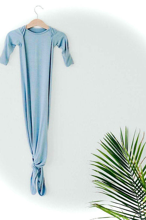 Blue Baby Knotted Gown+Hat Set