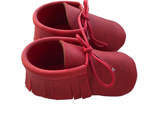Faux Suede Moccasins Red