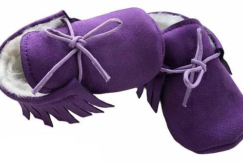 Faux Suede Lined Moccasins Purple