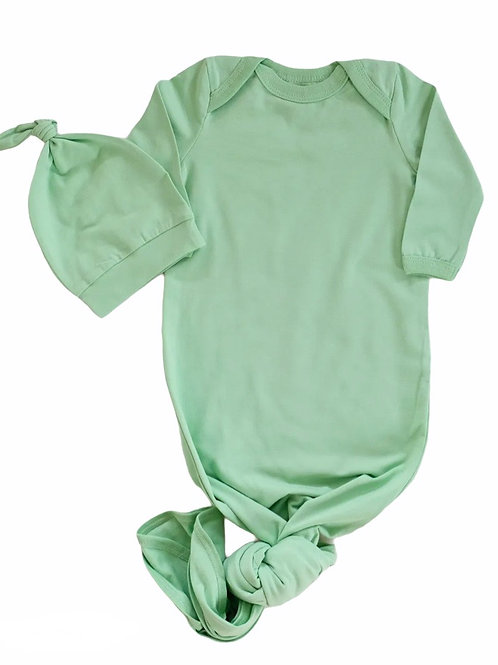 Green Baby Knotted Gown+Hat Set