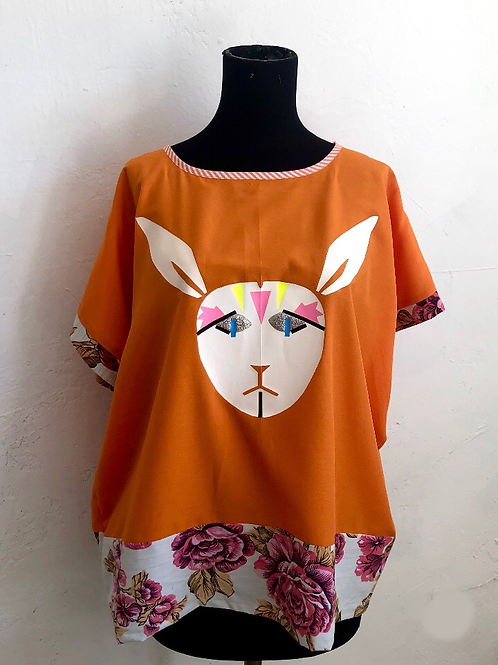 Orange White Rabbit Shirt