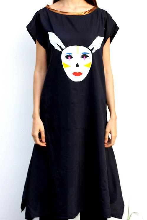 Upcycled Hand-Printed Dress