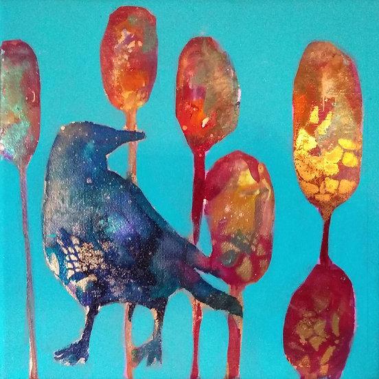 Bird Blooms- Crow