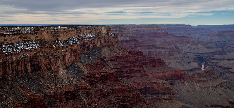 South Rim of the grand canyon.  layers of sediment visible on canyon sides.