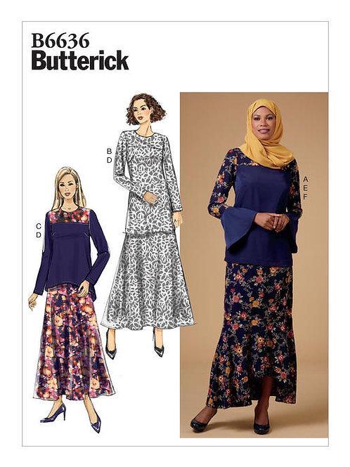 Butterick B6636 Tunika, Shirt, Rock, Schal