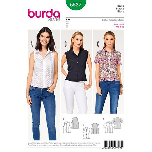 Burda 6527 Bluse mit Hemdkragen