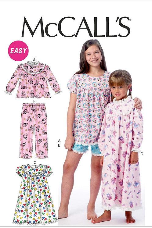 McCall`s M6831 Mädchen-Schlafanzug