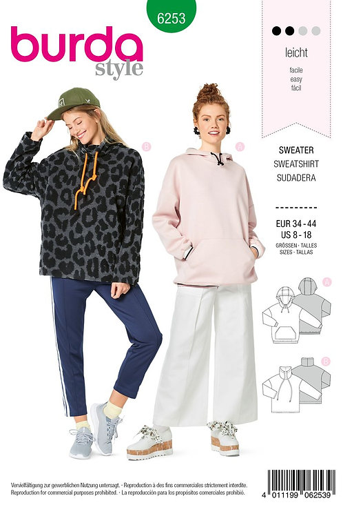 Burda 6253 lässiger Sweater & Hoodie