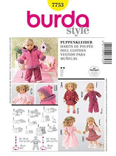 Burda 7753 schöne Puppenkleider für 30-35 cm & 40-45 cm Puppen