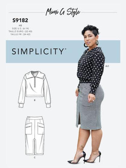 Simplicity 9182 Rock und Bluse/Shirt