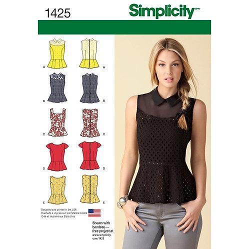 Simplicity 1425 Schößchen Top mit Ausschnitt Variationen