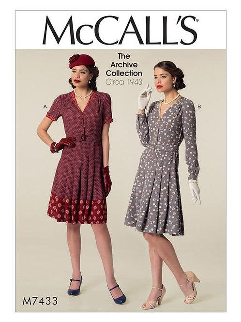 McCall's 7433 Vintage Nachmittagskleid von ca. 1943