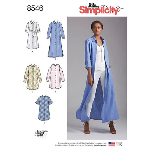 Simplicity 8546 Hemdblusenkleid