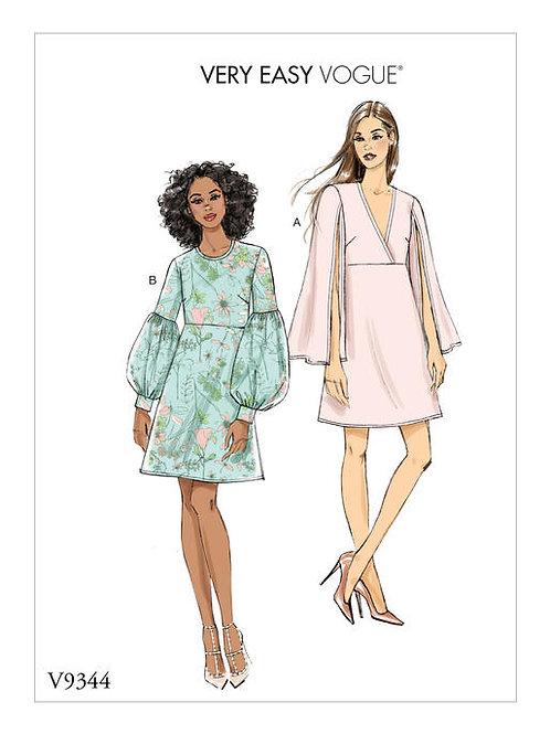 Vogue V9344 figurbetontes Kleid mit Ärmelvarianten
