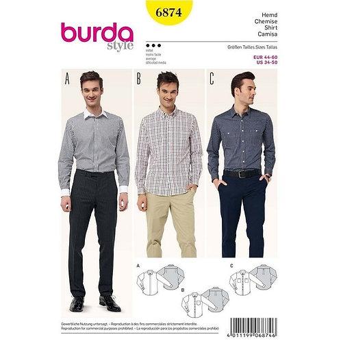Burda 6874 Herrenhemd mit Kragenvariationen