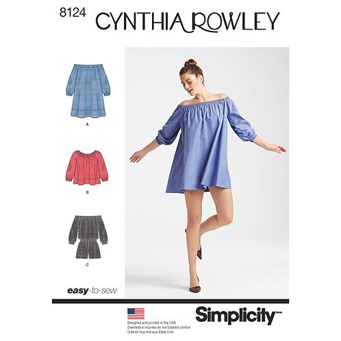 Simplicity 8124 Minikleid, Top & Overall