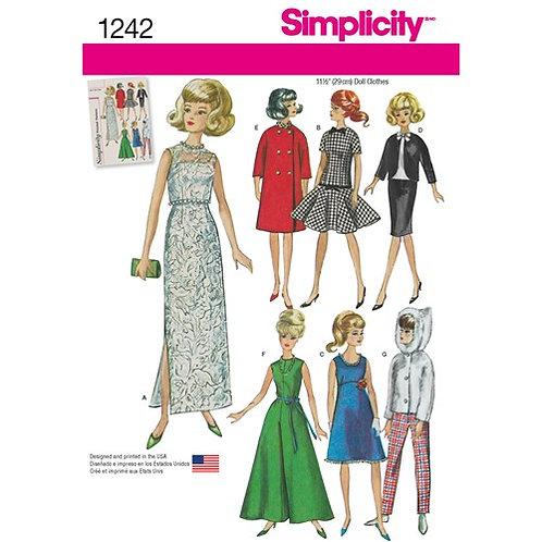 Simplicity 1242 Vintage Puppenkleidung für 29cm Puppen