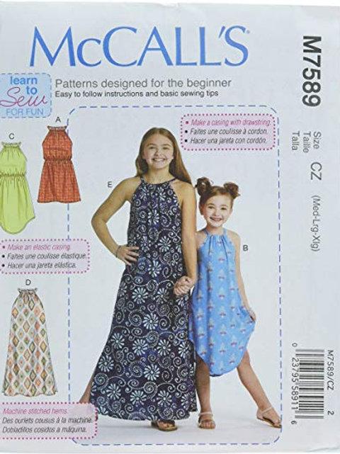 McCall`s M7589 Mädchen -  Kleid