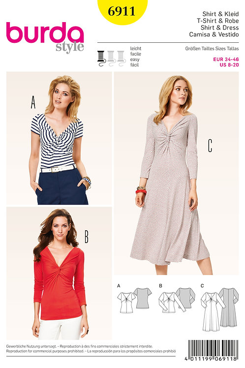 Burda 6911 Jersey - Kleid & Shirt