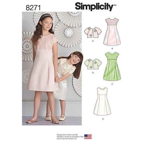 Simplicity 8271 Kinder- und Mädchenkleid mit Jacke