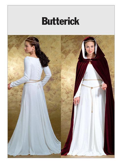 Butterick B4377 bodenlanges Kleid mit Umhang