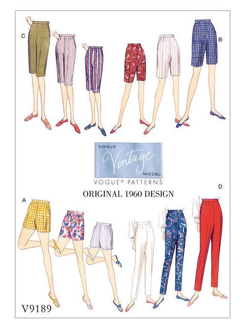 Vogue V9189 Karottenhose & Shorts von 1960