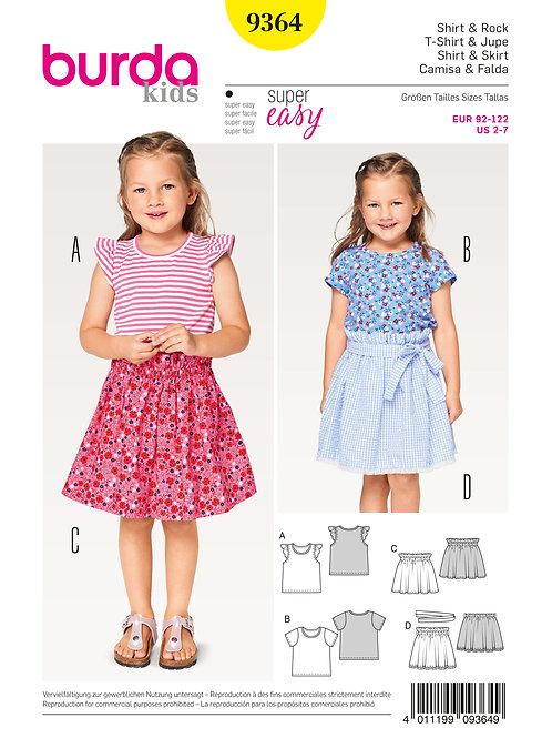 Burda 9364 modische Shirts & Röcke