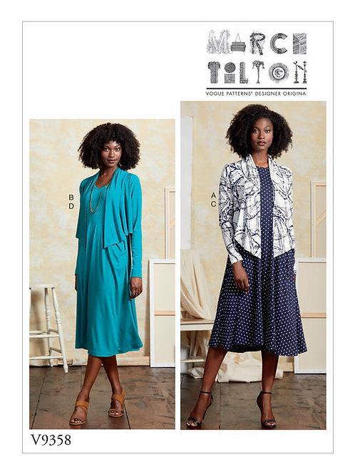 Vogue V9358 Jerseykleid & offene Jacke by Marcy Tilton