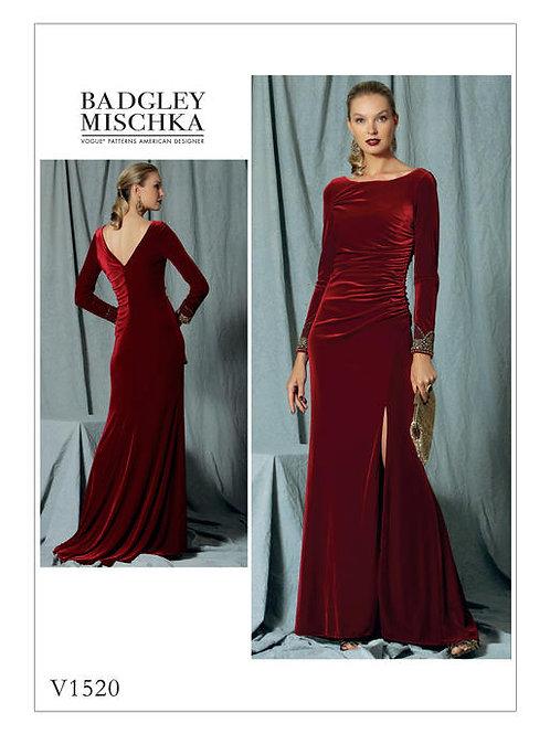 Vogue V1520 bodenlanges Abendkleid by Badgley Mischka