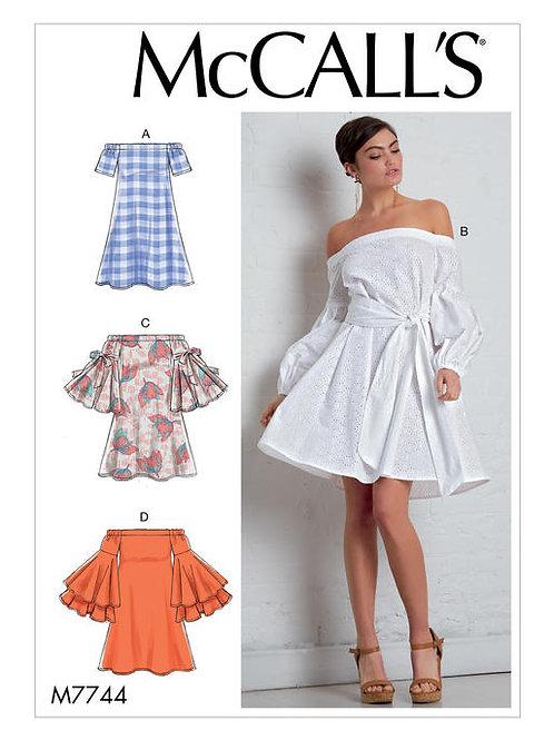 McCall's 7744 schulterfreis Kleid mit Gürtel