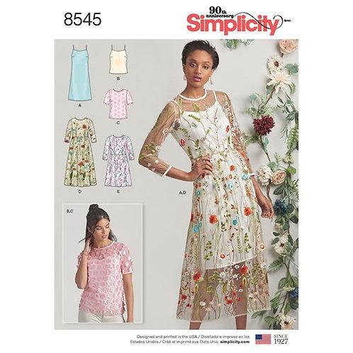 Simplicity 8545 Kleid, Shirt & Top