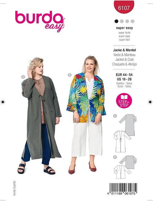 Burda 6107 Jacke/Mantel für große Größen