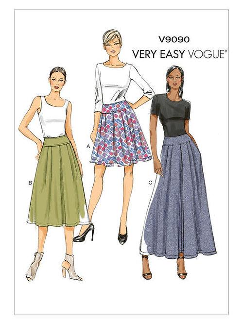 Vogue V9090 Faltenrock mit breiter Passe