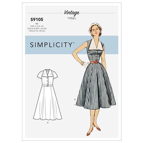 Simplicity 9105 Retrokleid mit Kragen