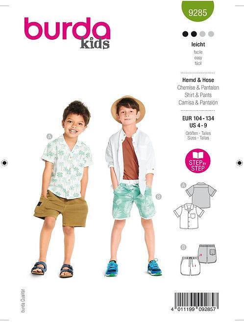 Burda 9285 Kleinkind - Hemd & kurze Hose
