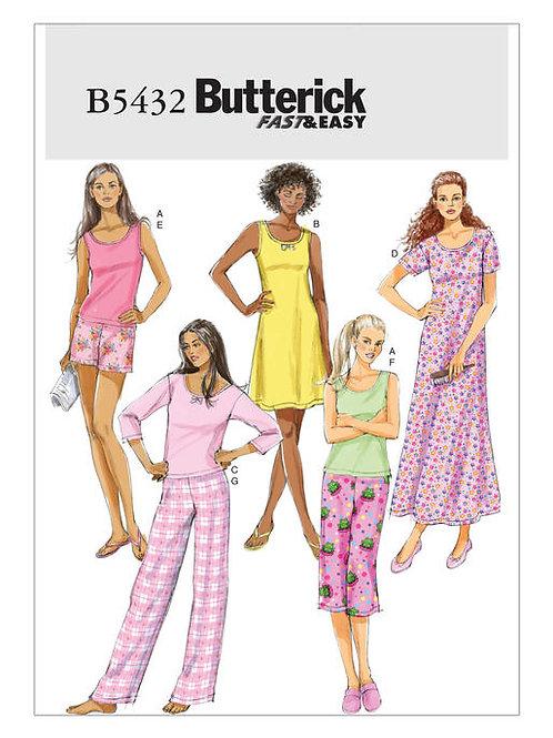 Butterick B5432 Nachthemd, Top, Shorts & Hose
