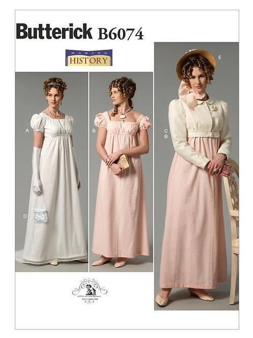 Butterick B6074 Kleid mit Empire-Taille, Jacke & Accessories